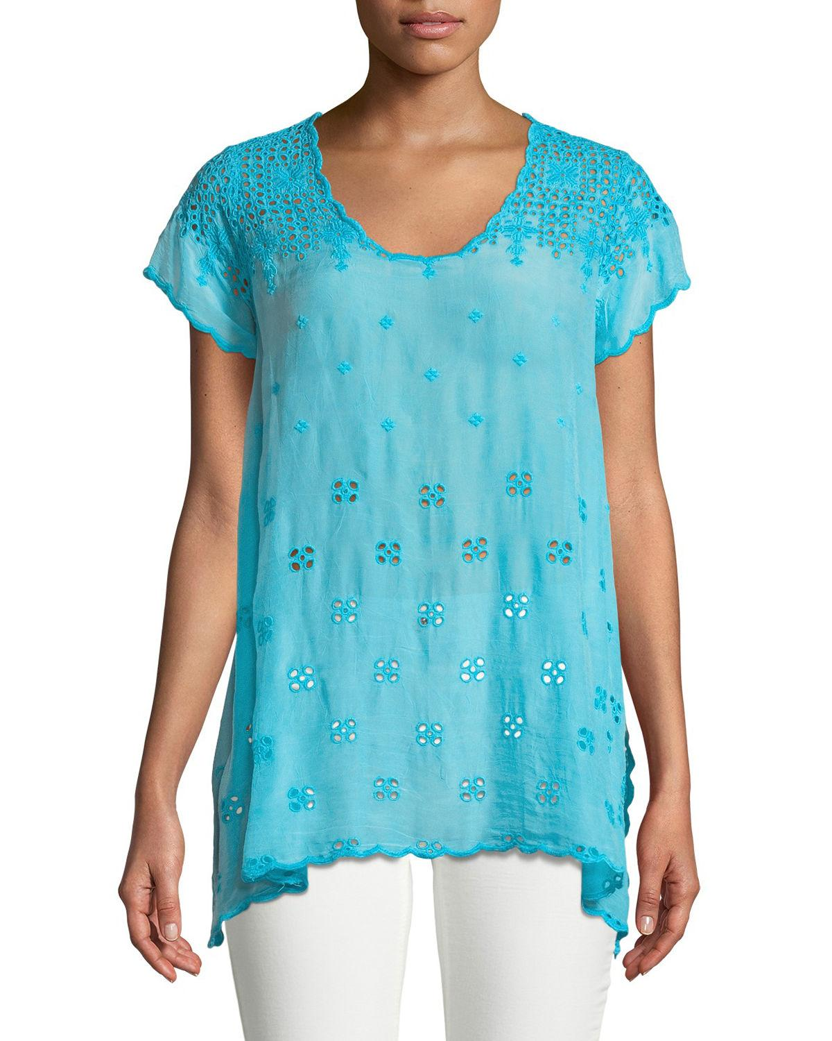 Johnny Was Darla Eyelet-embroidered Easy Tunic, Plus Size In Clear Sky