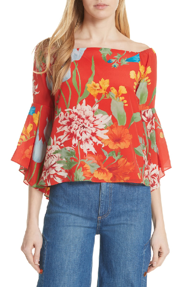 Alice And Olivia Shera Off-the-shoulder Floral-print Top In Greenwich Garden Poppy