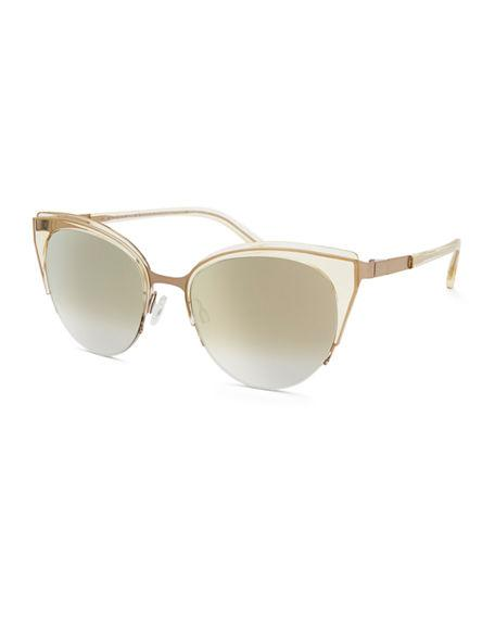 Barton Perreira Tanaquil Stainless Steel Cat-eye Sunglasses In Champagne