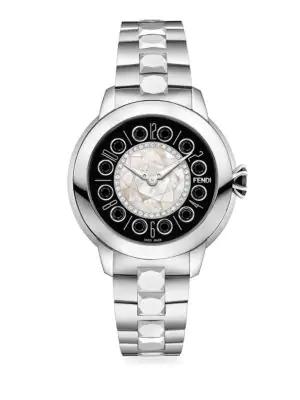 Fendi 33mm Ishine Stainless Steel Bracelet Watch W/ Diamond Bezel In Silver