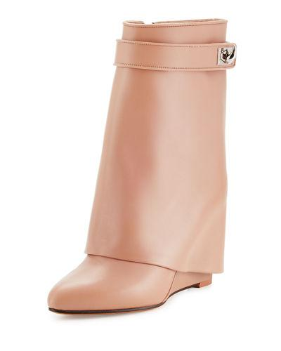 Givenchy Calfskin Shark-lock Fold-over Bootie In Old Pink
