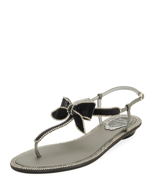 RenÉ Caovilla Velvet Embellished Bow Flat Sandal, Gray/multi In Gray Pattern