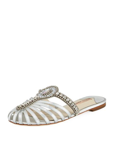 Sophia Webster Iridessa Satin Crystal Flat Slide Sandal In Silver