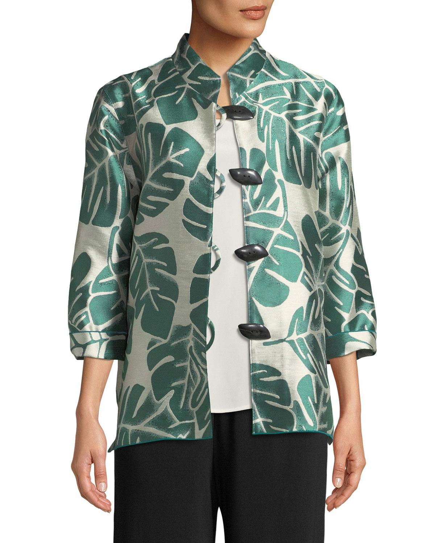 Caroline Rose Paradise Palm Jacquard Mandarin-collar Jacket, Plus Size In Palm/natural