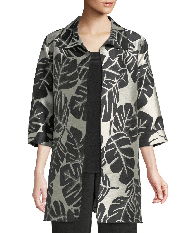 Caroline Rose Palm Paradise Jacquard Party Jacket, Plus Size In Black/natural