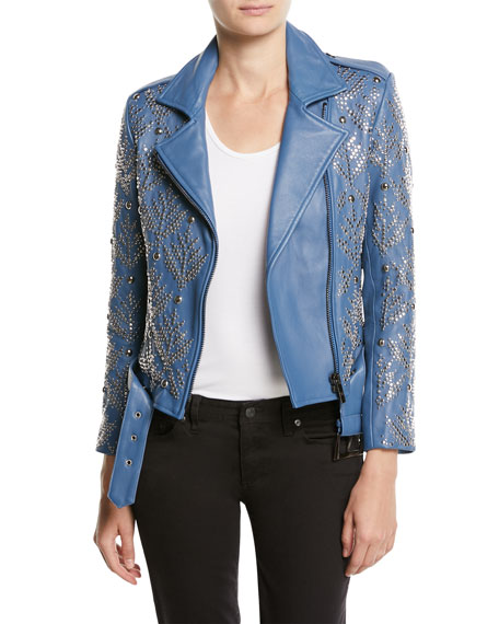 Nour Hammour Mary-jane Zip-front Studded Lamb Leather Moto Jacket In Blue