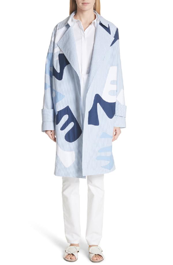 Lafayette 148 Laurita Sartorial Stripe Coat With Appliqués In Placid Blue Multi
