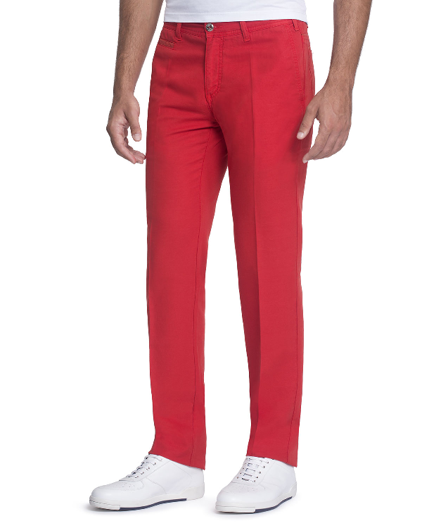 Stefano Ricci Linen-blend Pants With Suede Details In Medium Red