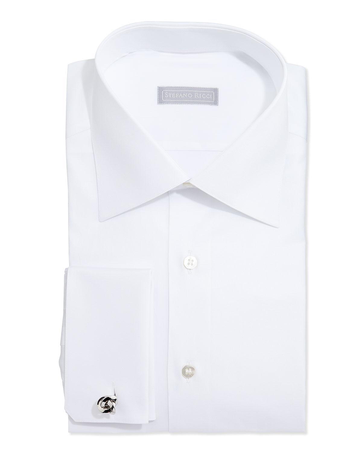 Stefano Ricci Basic French-cuff Solid Dress Shirt, White In Blue