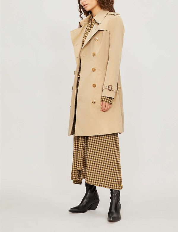 Burberry Protective Womens Beige The Kensington Heritage Check-lined Cotton-gabardine Trench Coat In Honey