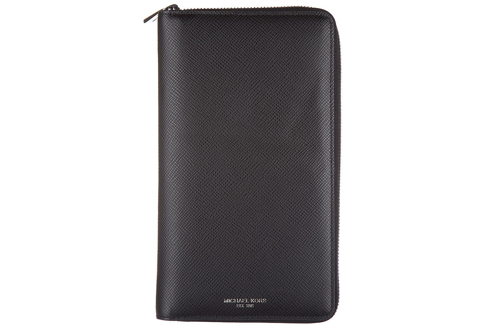 Michael Kors Men's Wallet Genuine Leather Coin Case Holder Purse Card Bifold Harrison Travel In Black
