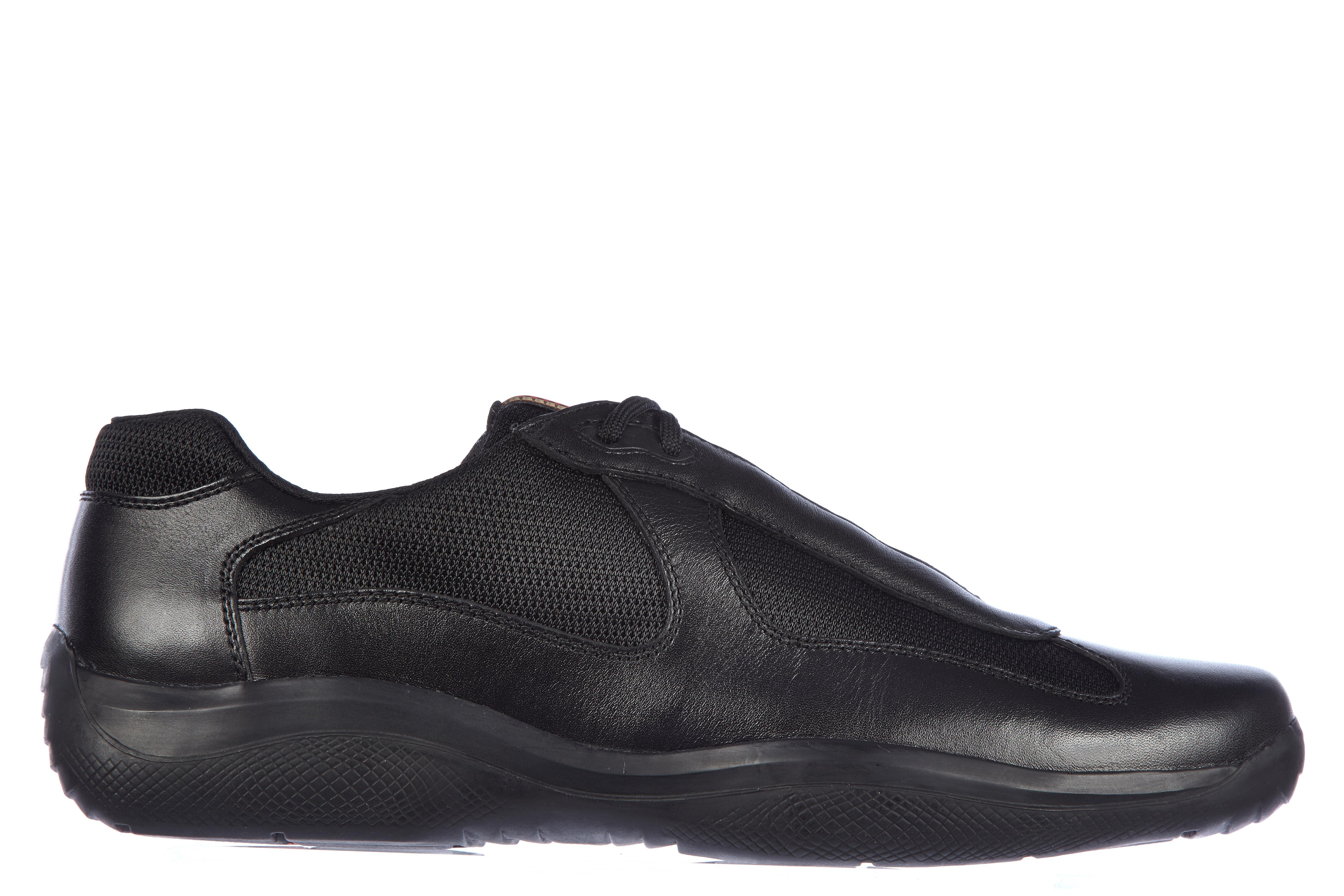 Prada Men's Shoes Leather Trainers Sneakers Nevada Bike In Black