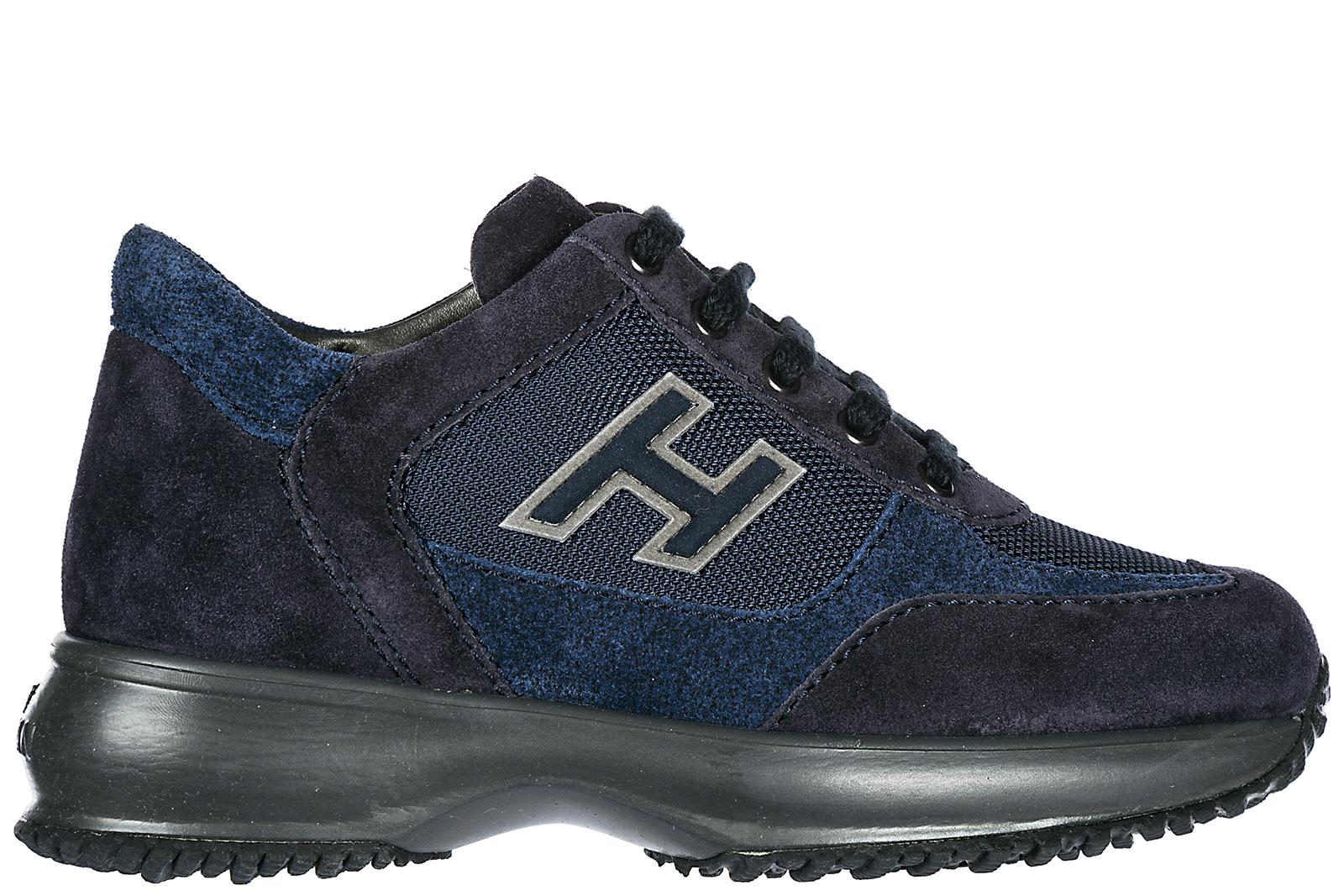 5924e7000b7bc Hogan Boys Shoes Child Sneakers Suede Leather Interactive H Flock In Blue