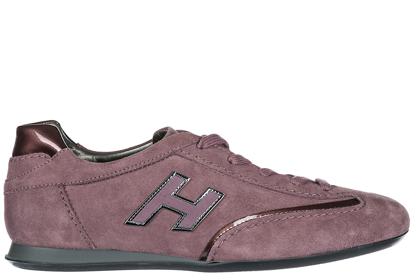 Hogan Women's Shoes Suede Trainers Sneakers Olympia H Flock In Purple