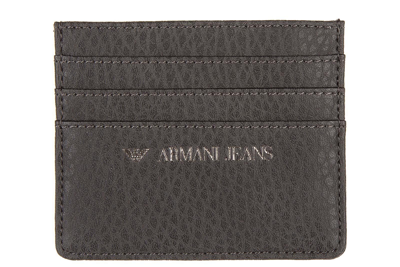 Armani Jeans Men's Credit Card Case Holder Wallet In Grey