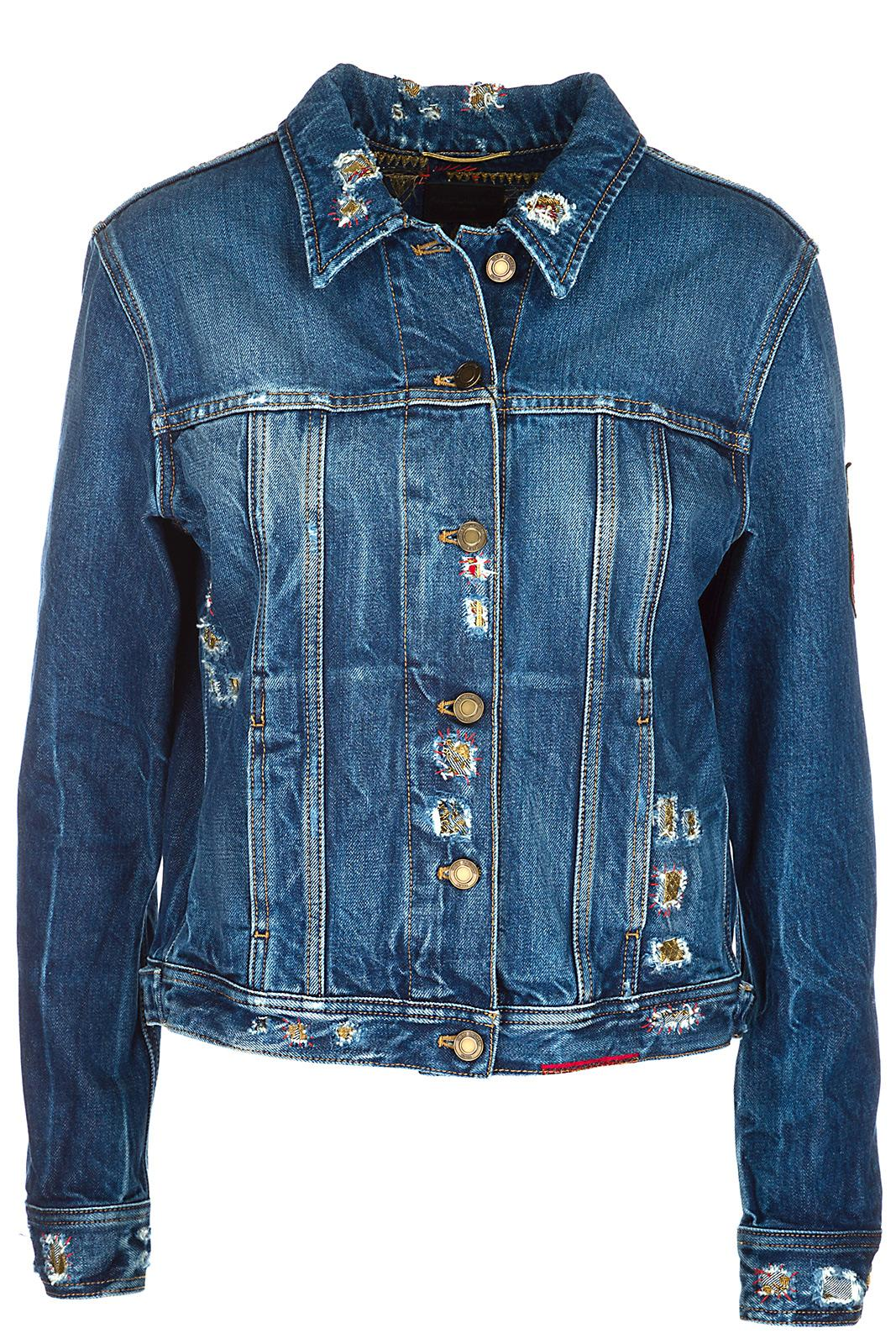 Saint Laurent Women's Denim Outerwear Jacket Blouson In Blue
