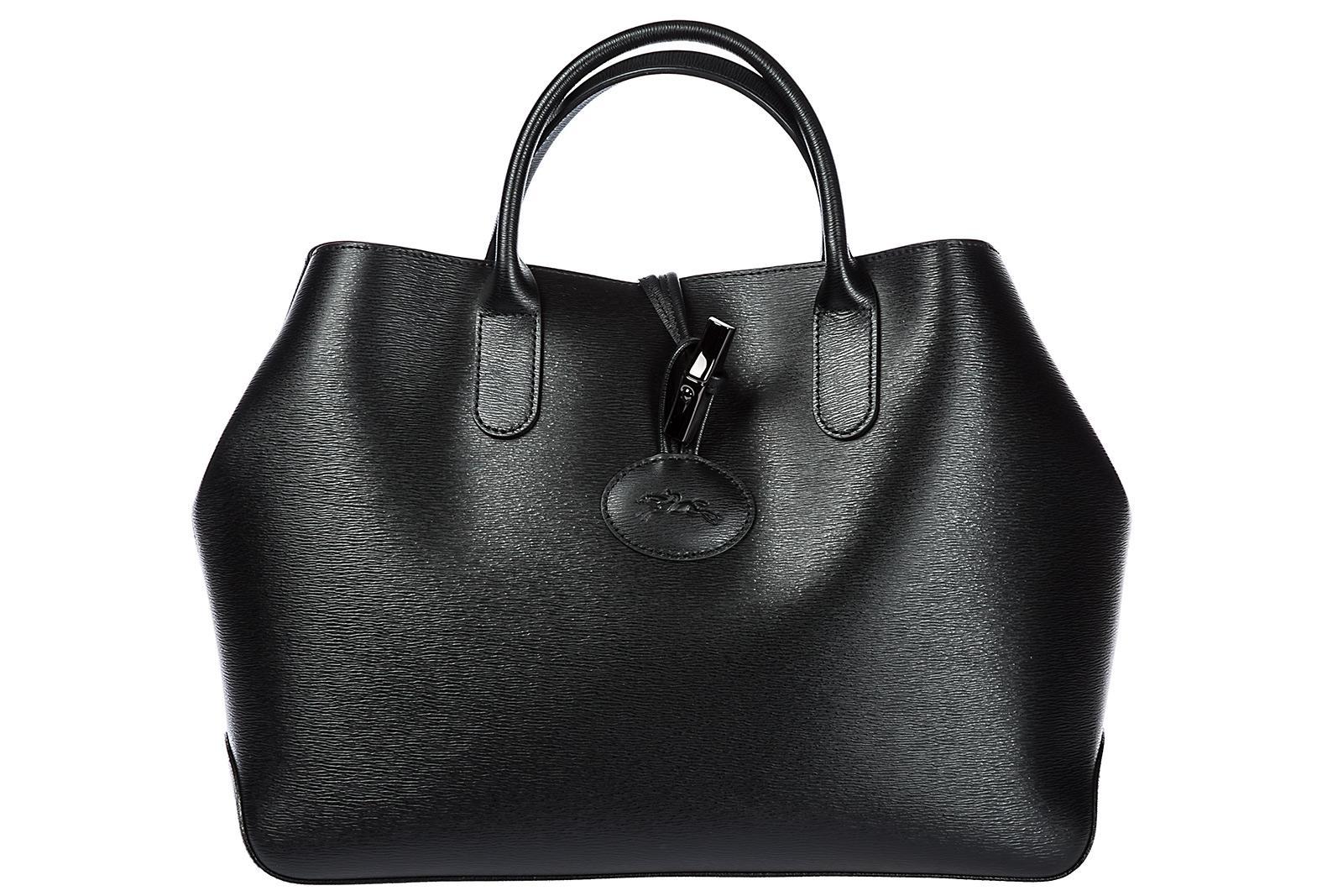 Longchamp Women's Leather Handbag Shopping Bag Purse In Black