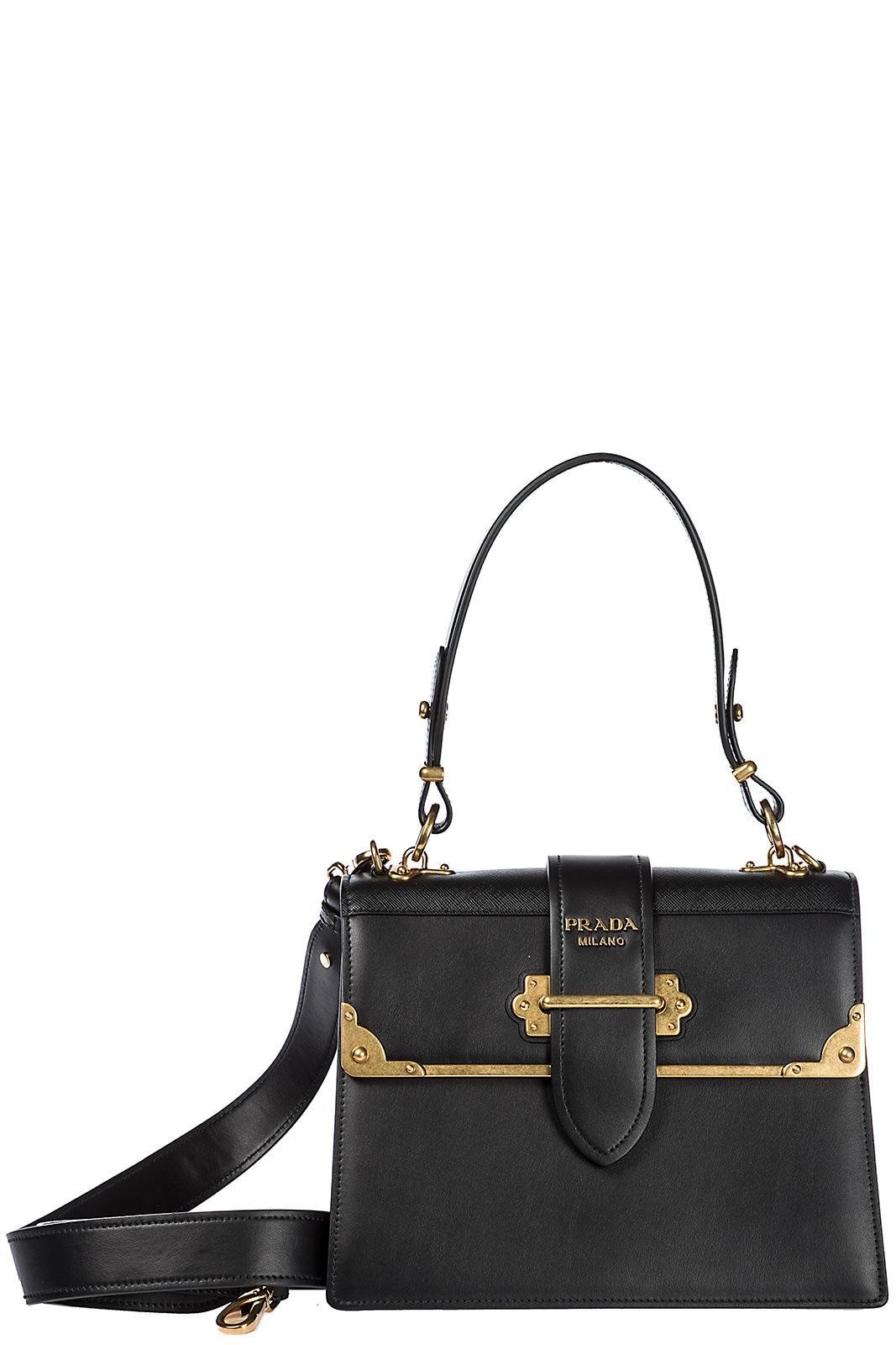 Prada Women's Leather Handbag Shopping Bag Purse In Black