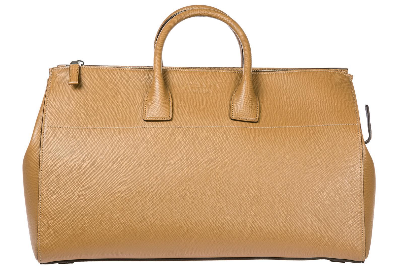 Prada Travel Duffle Weekend Shoulder Bag In Brown