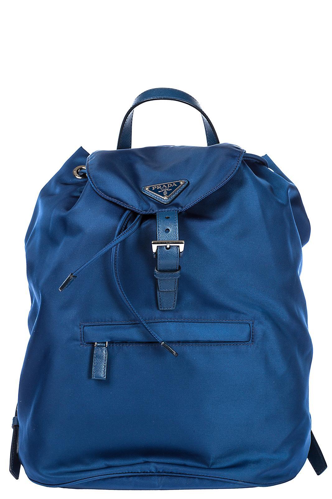 Prada Men's Nylon Rucksack Backpack Travel In Blue
