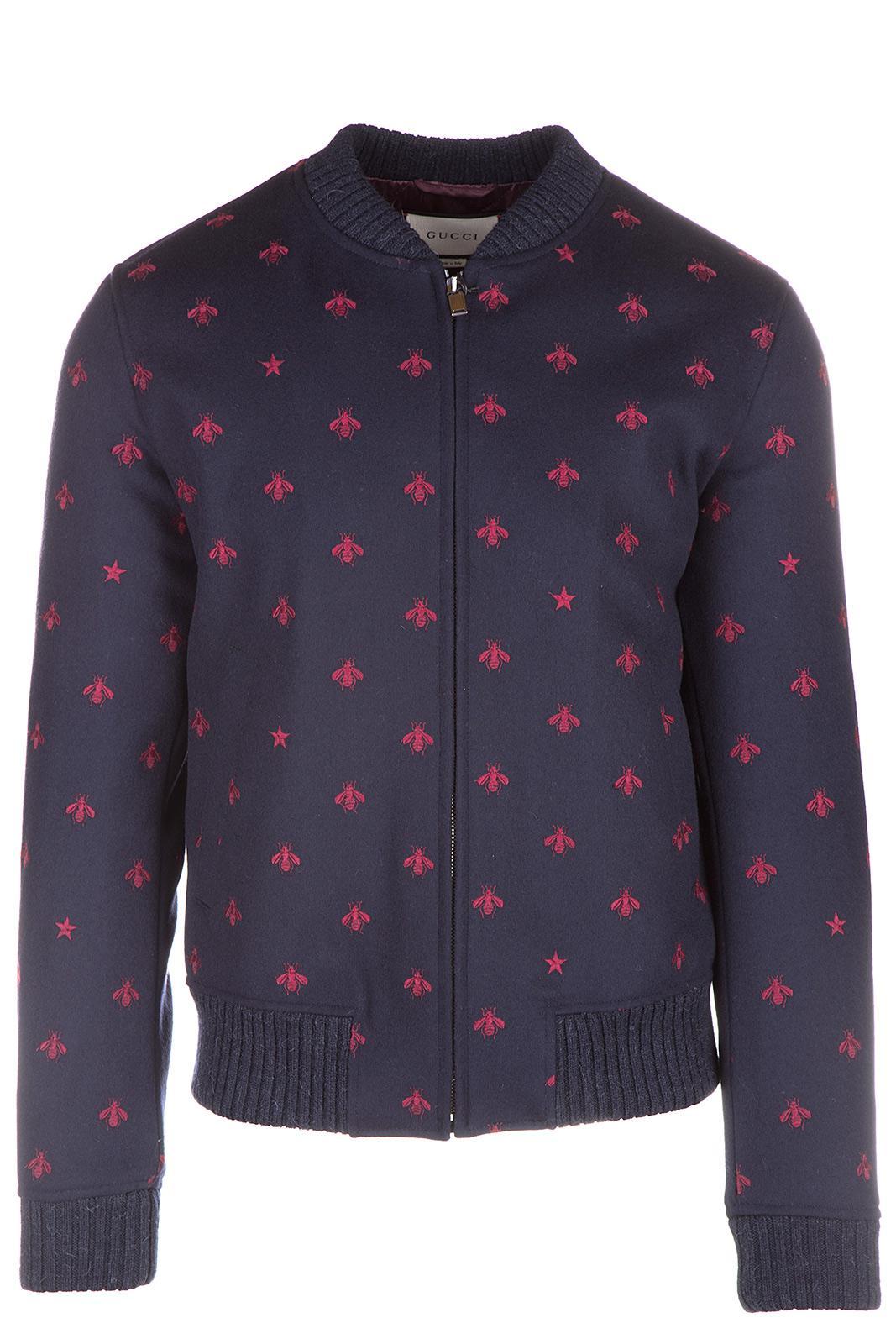 Gucci Men's Wool Outerwear Jacket Blouson In Blue