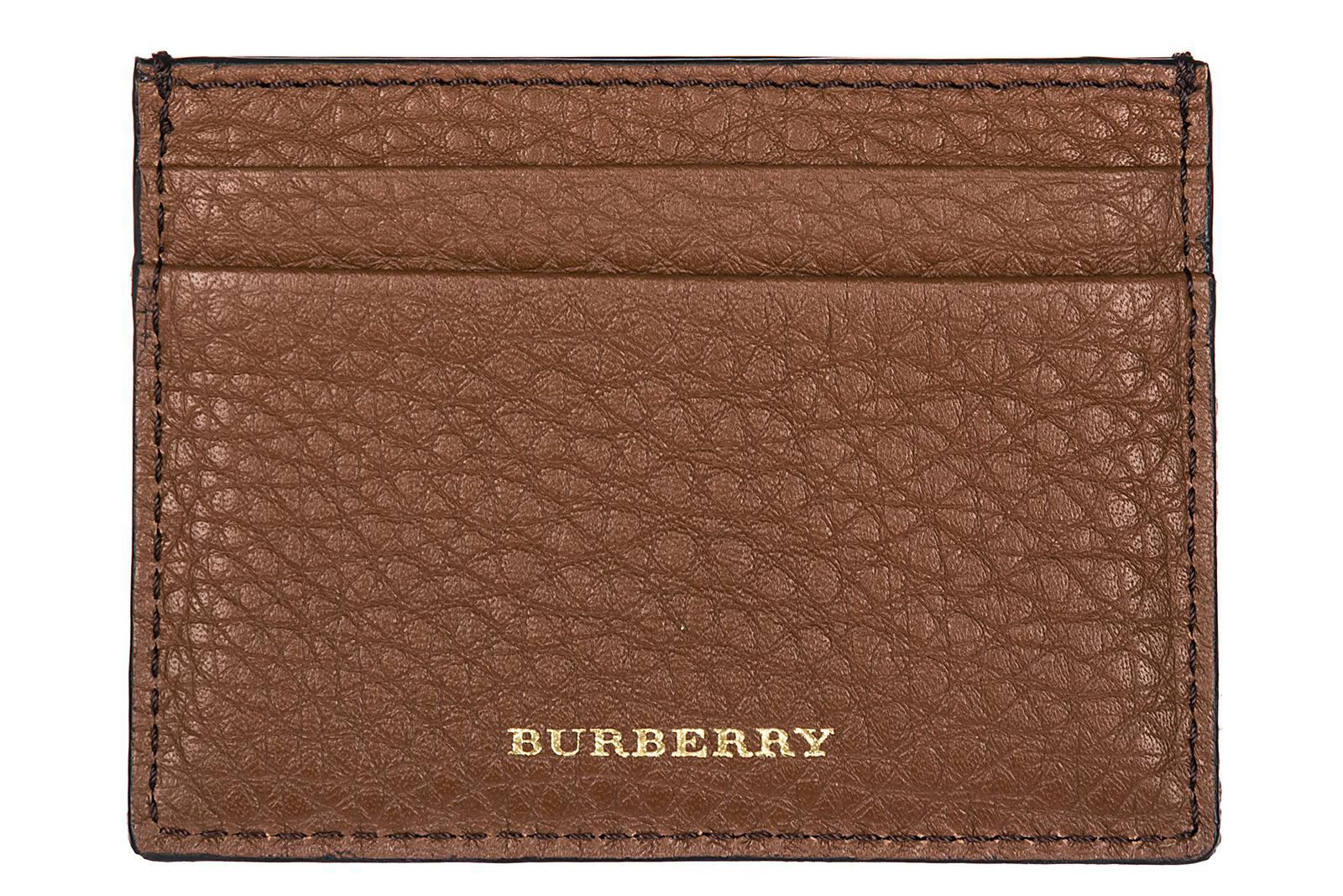Burberry Men's Genuine Leather Credit Card Case Holder Wallet Sandon In Brown