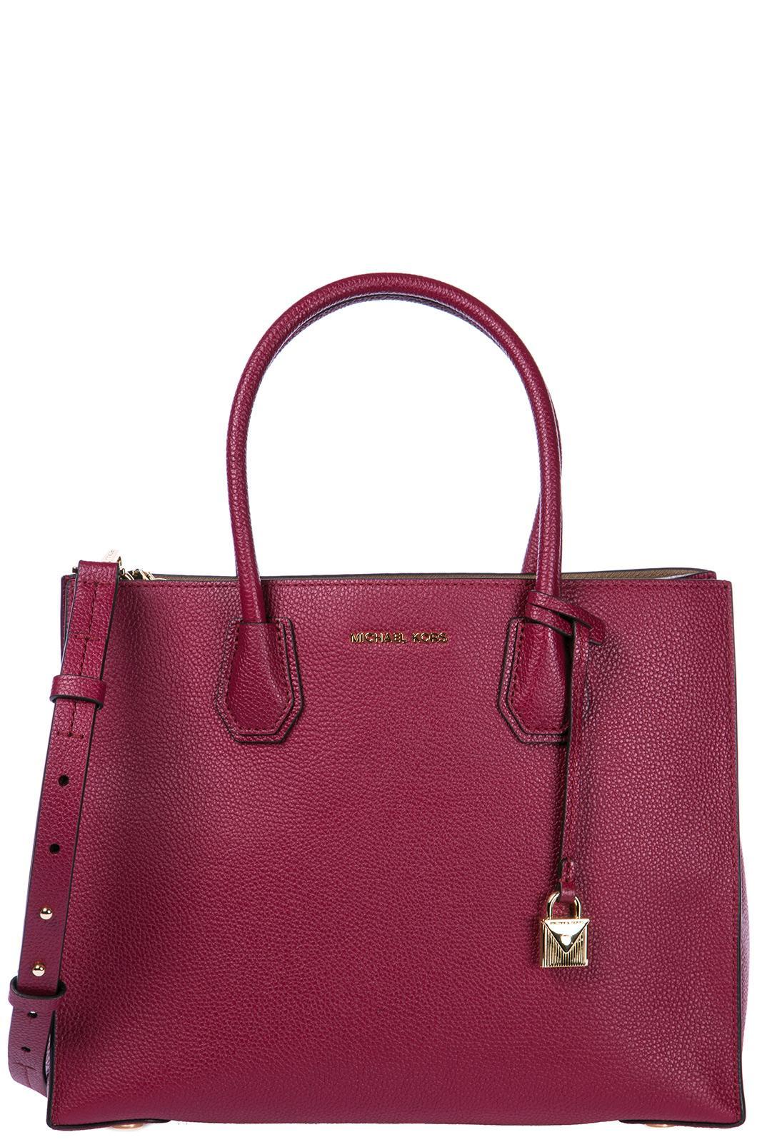 Michael Kors Women's Leather Handbag Shopping Bag Purse Mercer In Brown