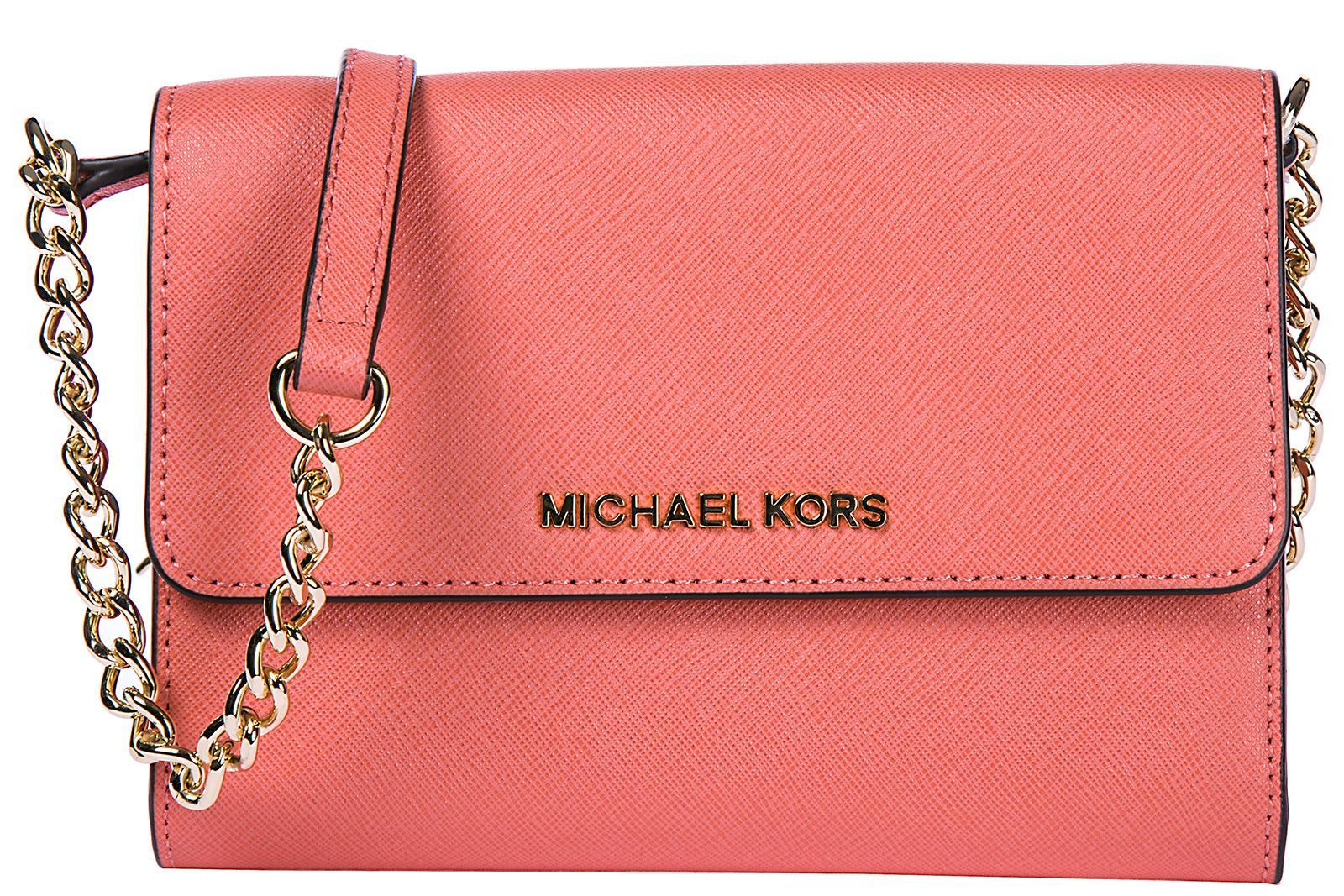 Michael Kors Women's Clutch With Shoulder Strap Handbag Bag Purse  Jet Set Travel Lg Phone Crossbody In Pink