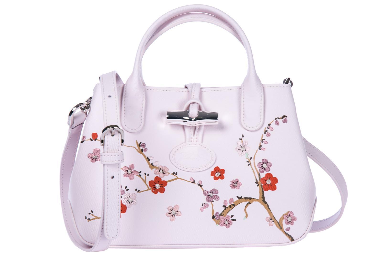 Longchamp Women's Leather Handbag Shopping Bag Purse In Pink