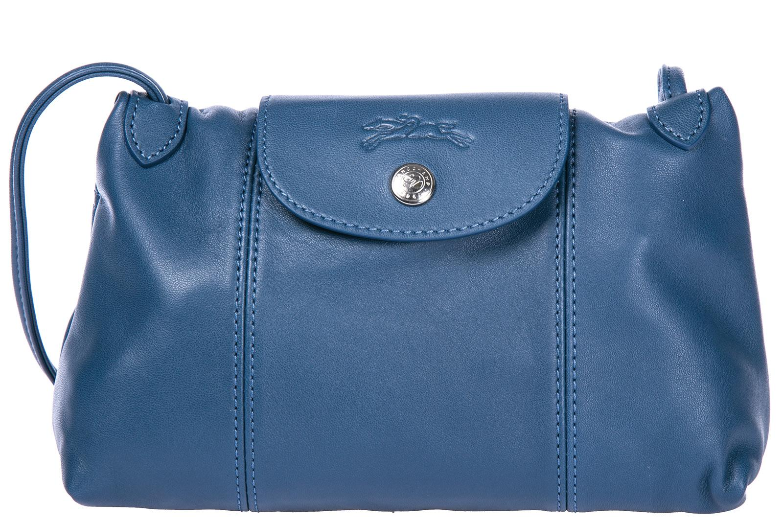 Longchamp Women's Leather Cross-body Messenger Shoulder Bag In Blue
