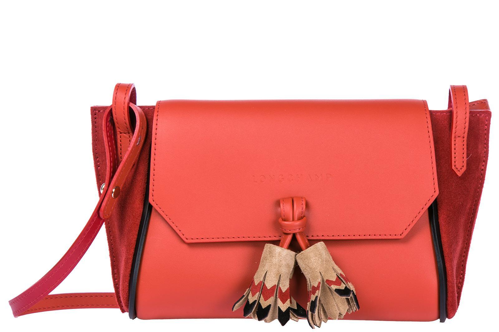 Longchamp UmhÄngetasche Damen Tasche Schultertasche Messenger Leder In Red