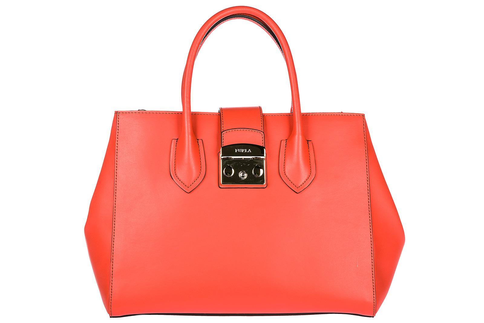 Furla Women's Leather Handbag Shopping Bag Purse Metropolis In Orange