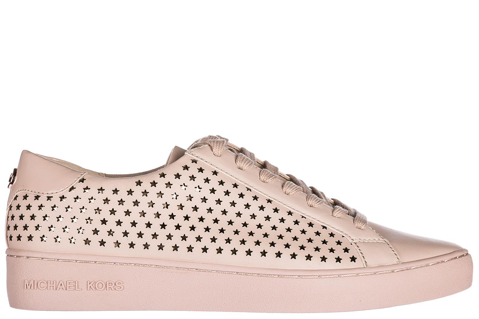 Michael Kors Women's Shoes Leather Trainers Sneakers Irving In Pink