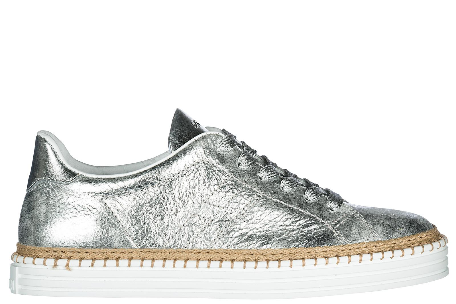 Hogan Women's Shoes Leather Trainers Sneakers R260 In Silver