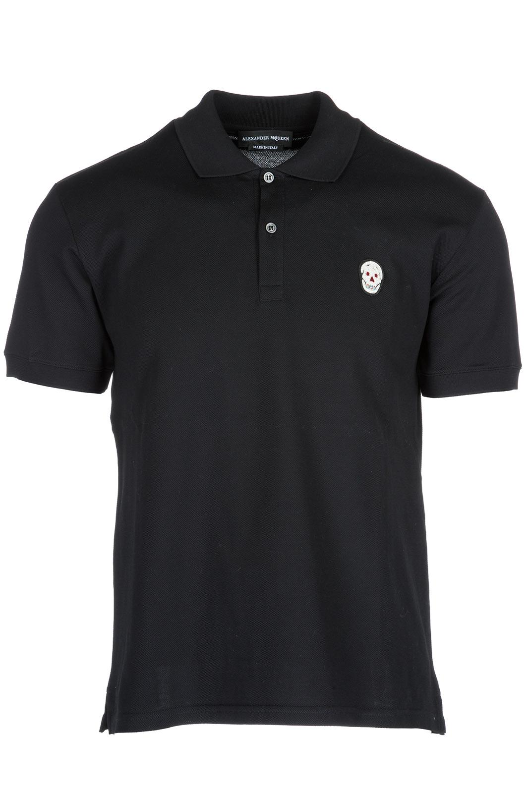 Alexander Mcqueen Men's Short Sleeve T-shirt Polo Collar In Black