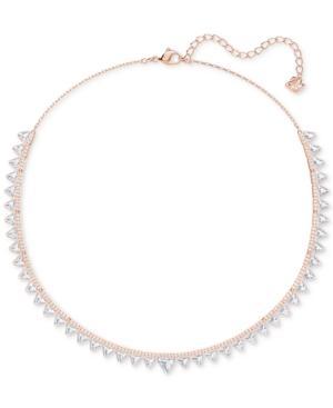 "Swarovski Rose Gold-tone Crystal Triangle Choker Necklace, 14-3/4"" + 1-3/4"" Extender"