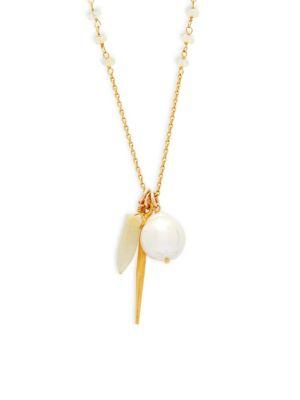 Chan Luu Ethiopian Opal, Pearl And Sterling Silver Pendant Necklace In Gold