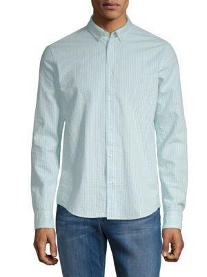 Scotch & Soda Striped Regular-fit Cotton Button-down Shirt In Aqua Combo