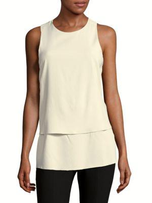 Theory Anastaza Bergen Solid Top In Sndy Wht