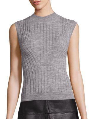 Rebecca Taylor Rib-knit Mockneck Pullover In Heather Grey