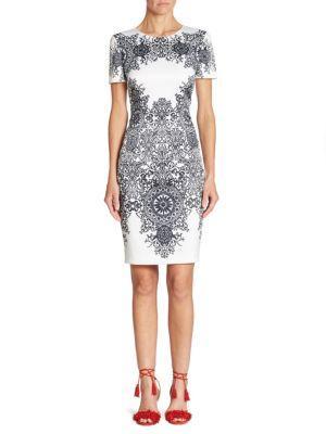St. John Nellore Printed Dress In White