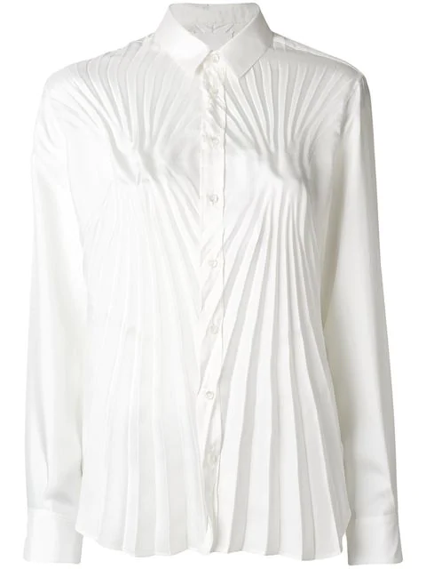 Maison Margiela Pleated Fitted Shirt In White