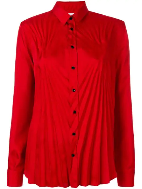 Maison Margiela Pleated Satin Blouse In Red