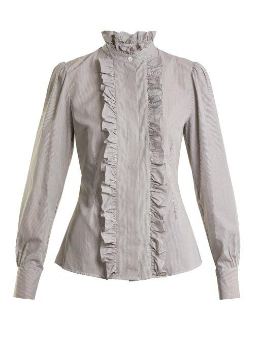 Alexa Chung Striped Ruffled-trimmed Cotton Blouse In Olive-green