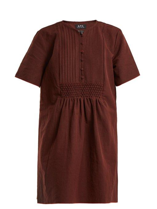 A.p.c. Christie Smocked Linen And Cotton-blend Dress In Burgundy