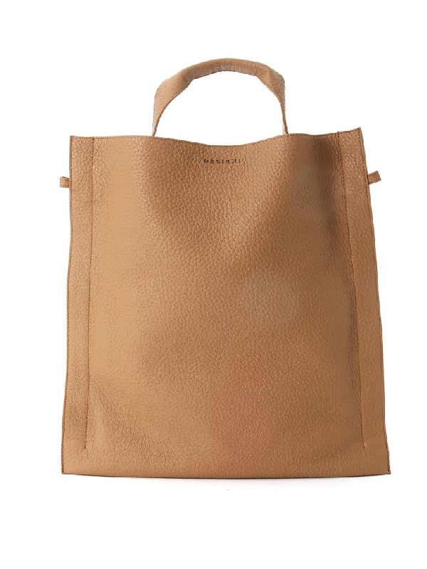 Orciani Beige Tumbled Leather Bag In Marrone