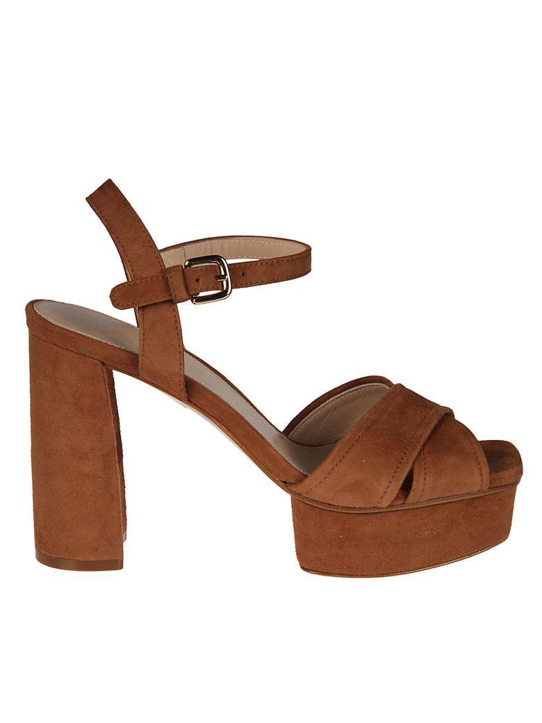 Stuart Weitzman Exposed Platform Sandals In Brown