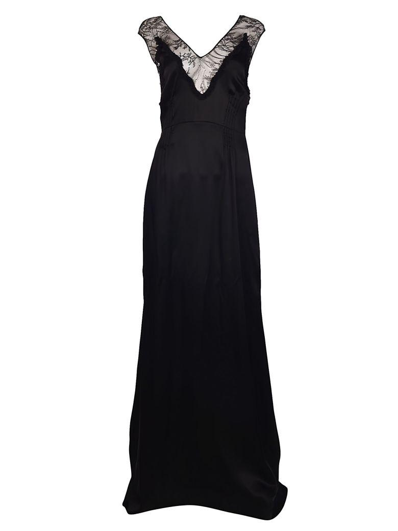 Rochas Embroidered Leaf On Net Long Dress In Black