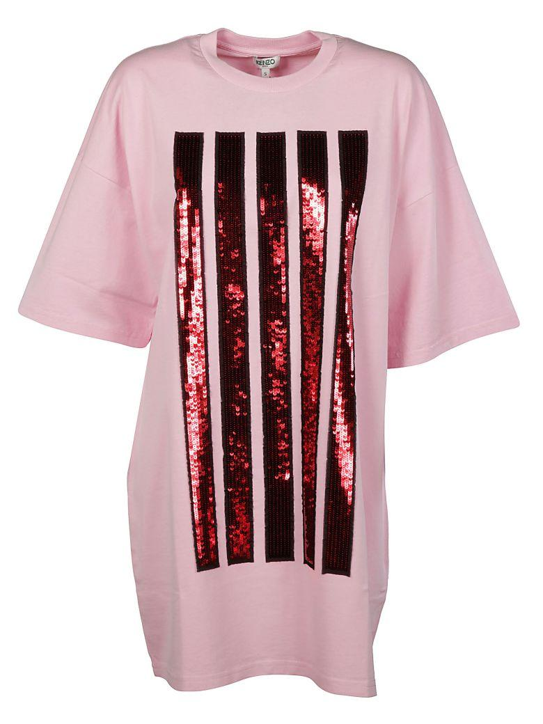 Kenzo Oversized Sequin Stripes T-shirt Dress In Pink