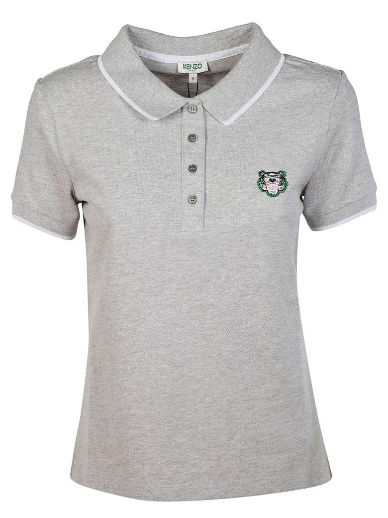 Kenzo Tiger Polo Shirt In Grey